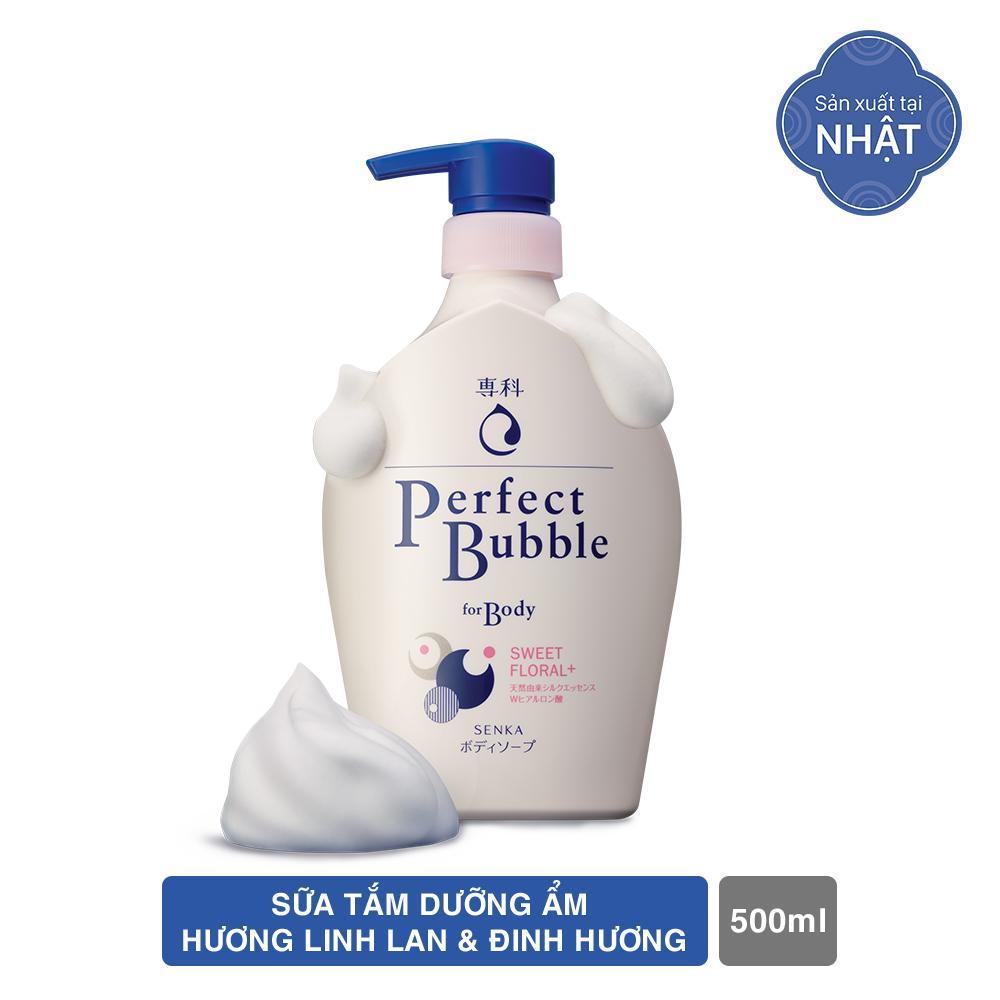 Sữa tắm dưỡng ẩm Senka Perfect Bubble - Hương Hoa Hồng & Đinh Hương 500ml