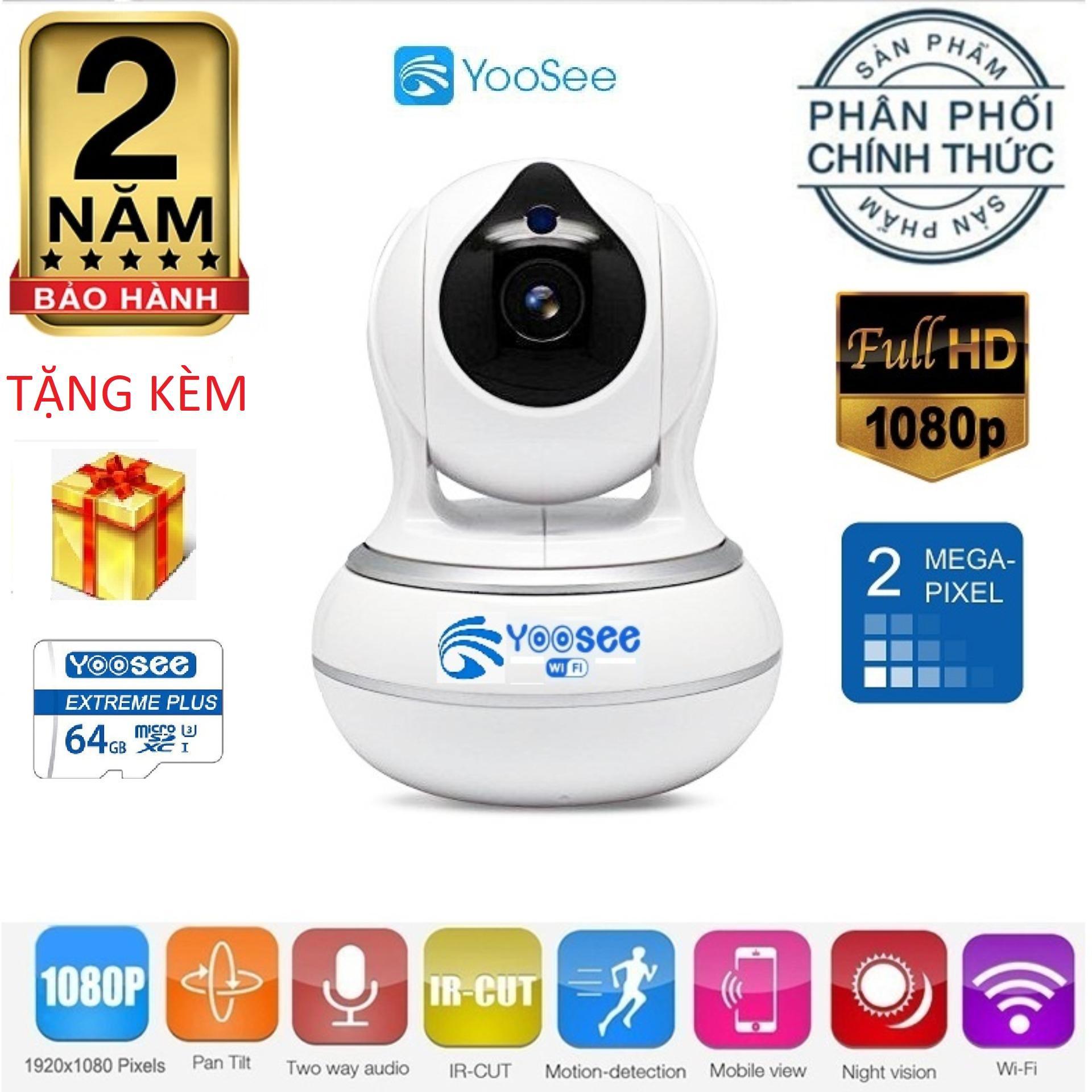 (Bảo hành 24 tháng,Tặng kèm thẻ yoosee 64GB Xịn ) Camera wifi ipYoosee 720x1080 Pixel AI- AI 2019 - Bản Nâng Cấp,camera chống trộm,lưu trữ video