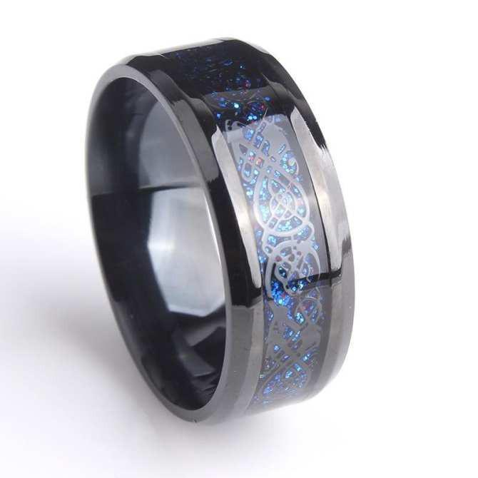 Nhẫn nam titan đá xanh cực đẹp NHPQ