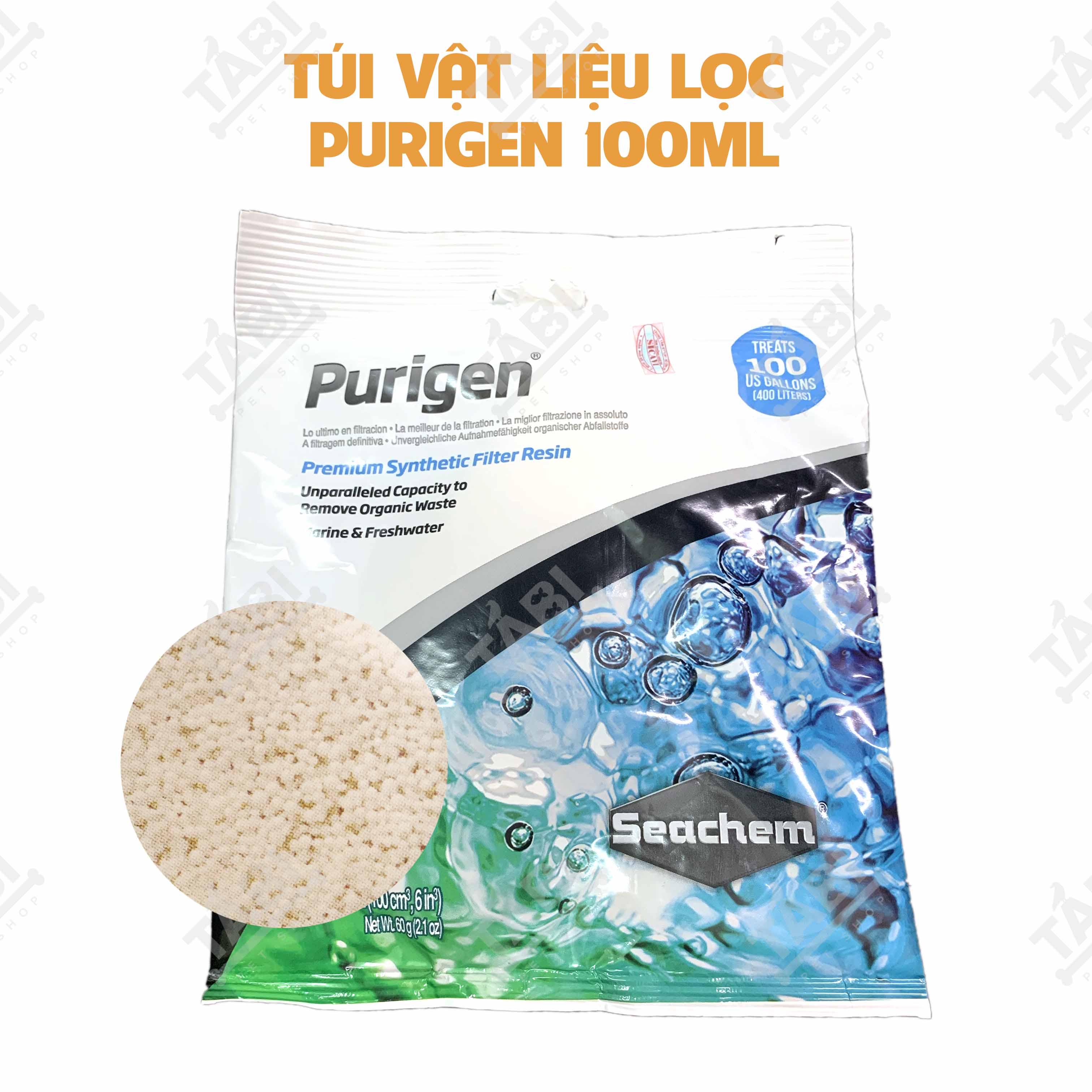 Vật Liệu Lọc Purigen Seachem Túi 100ML Khử Độc Làm Trong Nước Hồ Cá.