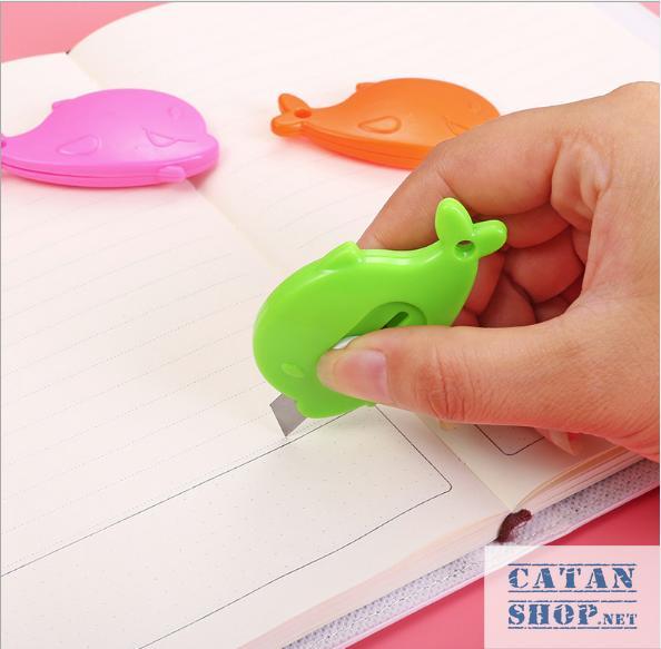Combo 5 Dao Rọc Giấy mini Hình CÁ siêu cute, Cắt giấy văn phòng phẩm tiện dụng bằng kim loại , thép không rỉ, nhỏ gọn an toàn