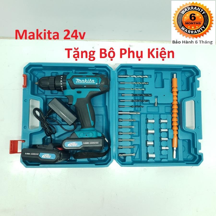 Máy Khoan MAKITA 24V Lõi Đồng 2 Pin - Tặng bộ phụ kiện - Bắt Vít, Khoan Sắt, Khoan Tường, Khoan Gỗ - Hàng Malaysia