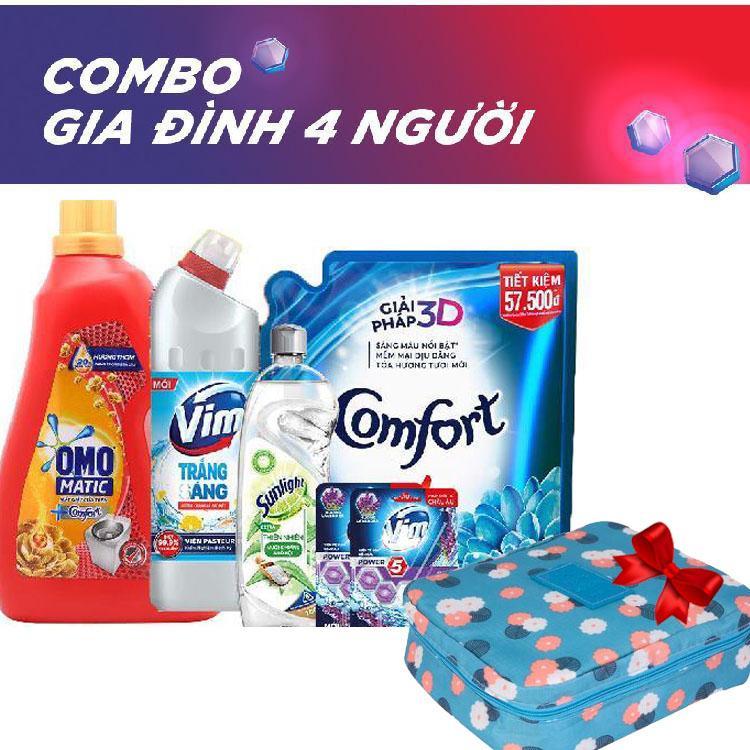 Combo tiết kiệm cho gia đình [4 người] OMO nước giặt Matic Comfort chai 3.7kg, COMFORT đậm đặc 1 lần xả hương ban mai 2.6l, SUNLIGHT Nước rửa chén Thiên Nhiên 750gr, VIM gel tẩy rửa 880ml và Combo 2 VIM viên treo bồn cầu lavender 55g