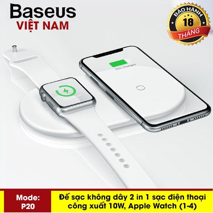 Đế sạc nhanh không dây cao cấp Baseus P20 cho Iphone Xs, iphone Xsmax và Apple Watch công xuất 10W thông minh mầu trắng tuyệt đẹp chuẩn Qi cho iphone X , iphone 8,Samsung S9, Note8, note9, note10 - Phân phối bởi Baseus Vietnam