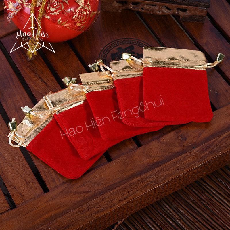 Túi Gấm nhung đỏ dây rút đựng trang sức viền Vàng cao cấp (Cao 11cm x Ngang 8.5cm) - Combo 05 túi