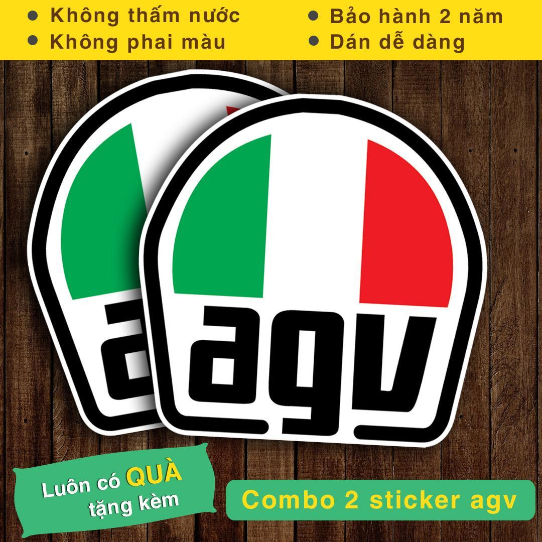 Combo 2 Logo Sticker dán xe Logo AGV
