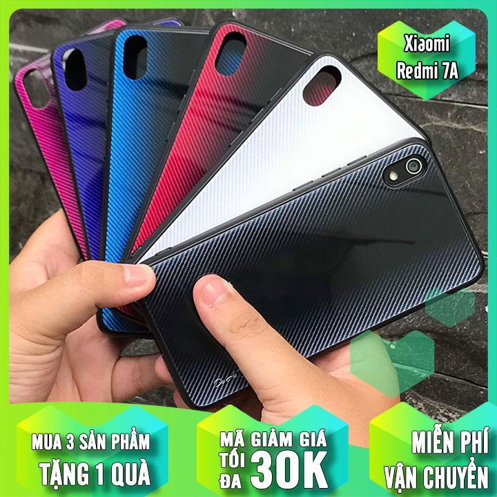 Ốp lưng cho Xiaomi Redmi 7A Vân Gương 2 màu, viền nhựa TPU dẻo đen