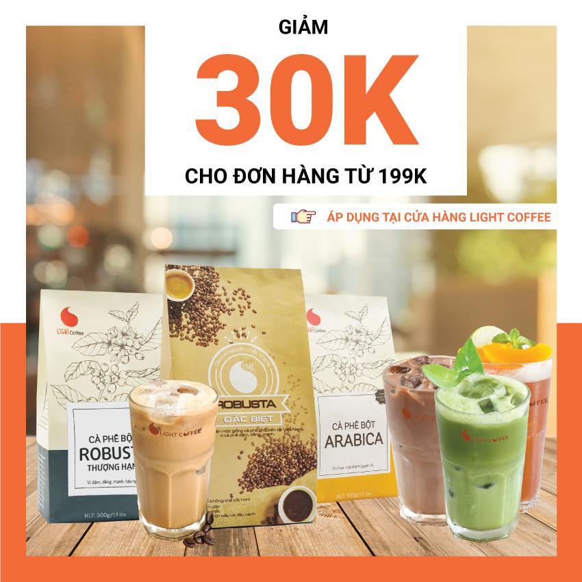 HCM - Evoucher Giảm 30k cho đơn hàng từ 199k áp dụng tại Light Coffee Official Store (sản phẩm đóng gói + thức uống)