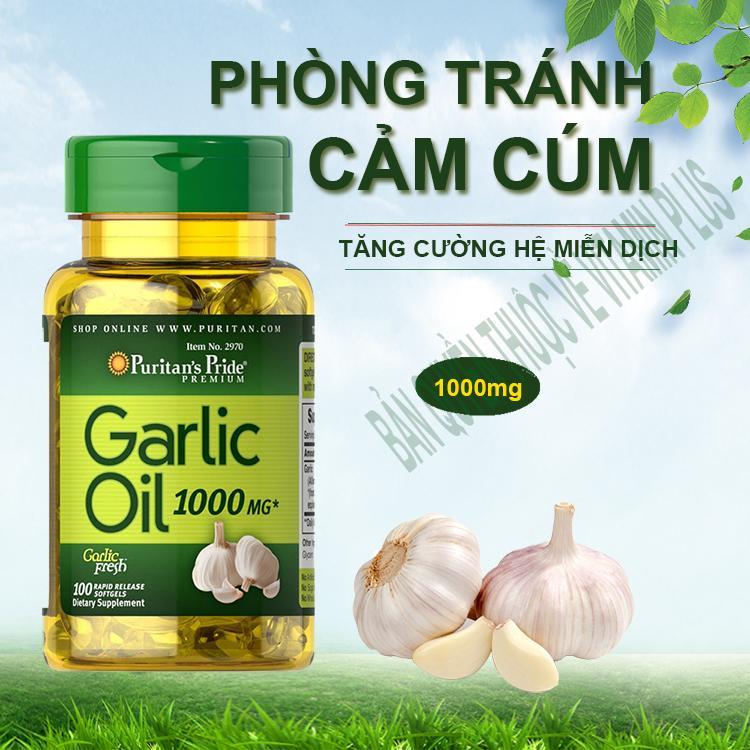 Dầu tỏi Garlic oil 1000mg của Mỹ tốt hơn 100 lần tinh dầu tỏi diep chi tăng cường hệ miễn dịch, phòng ngừa cảm cúm, giảm cholesterol, xơ vữa động mạch, Vitamin Mỹ Puritan s Pride 10 viên dùng thử 1