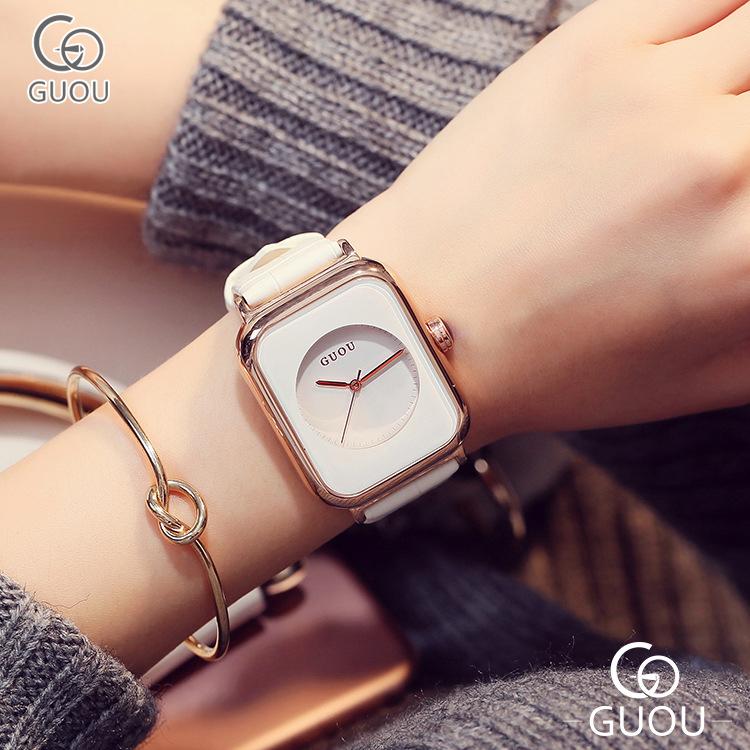 Đồng hồ Nữ GUOU Dây Mềm Mại đeo rất êm tay, Chống Nước Tốt, Bảo Hành Máy 12 Tháng Toàn Quốc 6