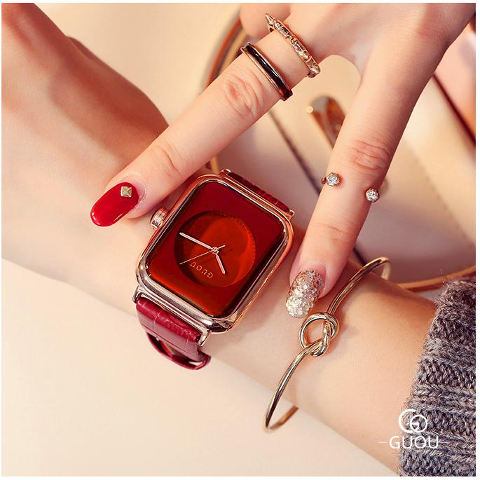 Đồng hồ Nữ GUOU Dây Mềm Mại đeo rất êm tay, Chống Nước Tốt, Bảo Hành Máy 12 Tháng Toàn Quốc 15