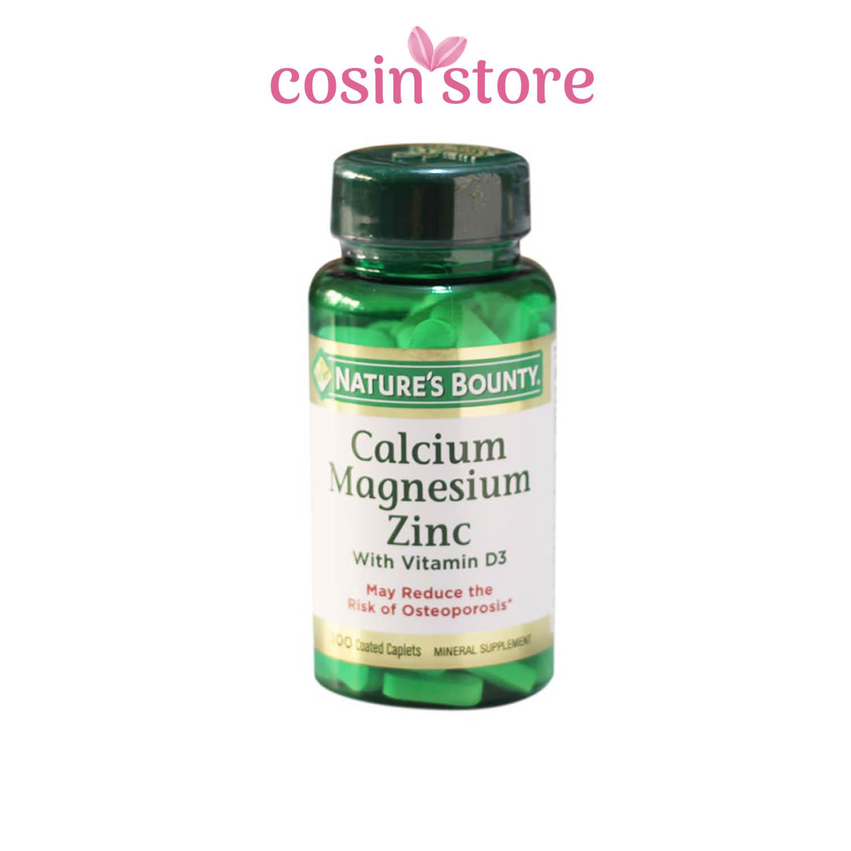 Viên uống Nature's Bounty Calcium Magnesium Zinc with Vitamin D3 100 viên – Bổ sung Canxi Cho Xương Chắc Khoẻ