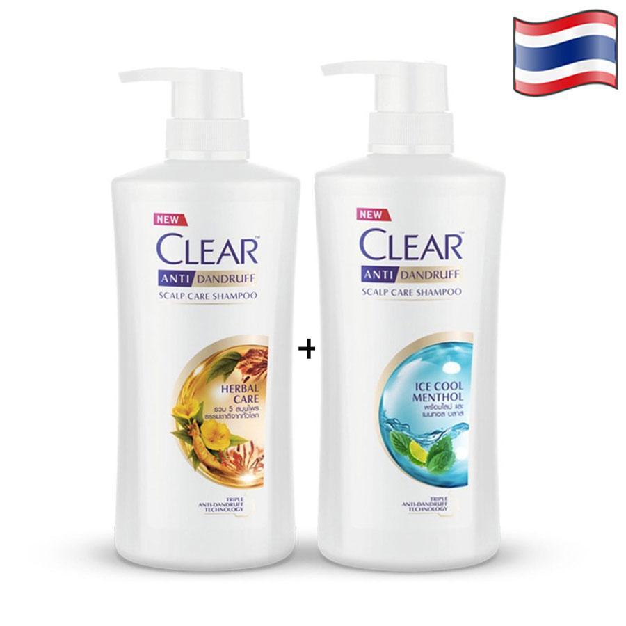 COMBO 2 CHAI DẦU GỘI CLEAR BẠC HÀ 480ml  VÀ CLEAR THẢO DƯỢC 450ml