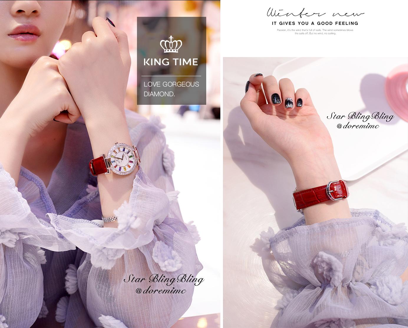 Đồng hồ nữ KING TIME Đính Đá Ruby Cầu Vòng, Mặt to nổi bật, Chống nước sinh hoạt 5