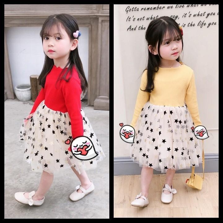 Váy công chúa hoạ tiết ngôi sao - áo chất len tăm, chân váy sao 2 lớp Quảng Châu - dáng tiểu thư cực xinh cho bé gái (Hàng bán shop và siêu thị)