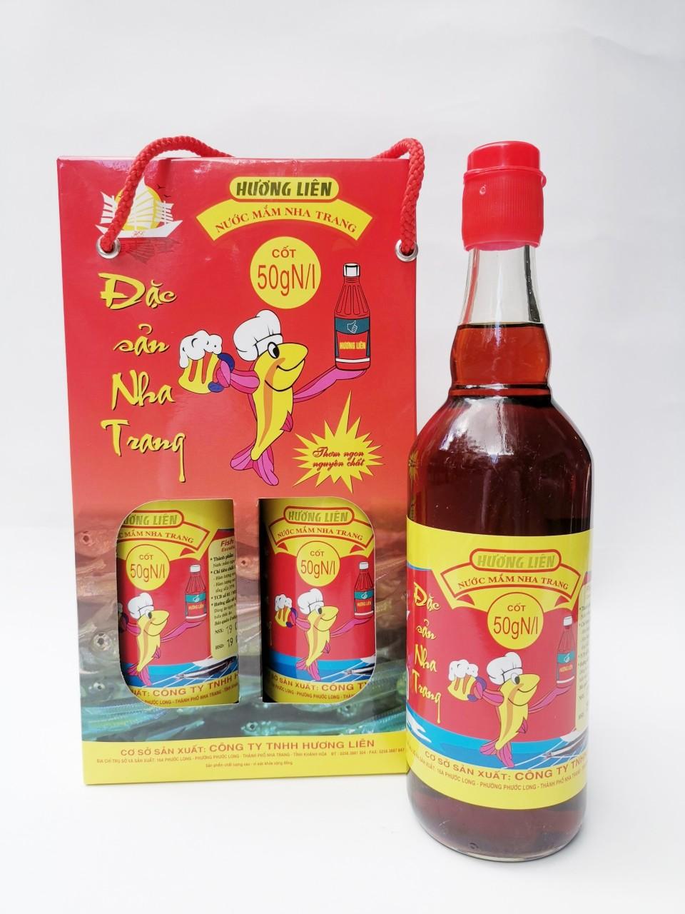Hộp 2 chai 50 đạm (500ml) - Nước mắm nhĩ cá cơm Nha Trang Hương Liên