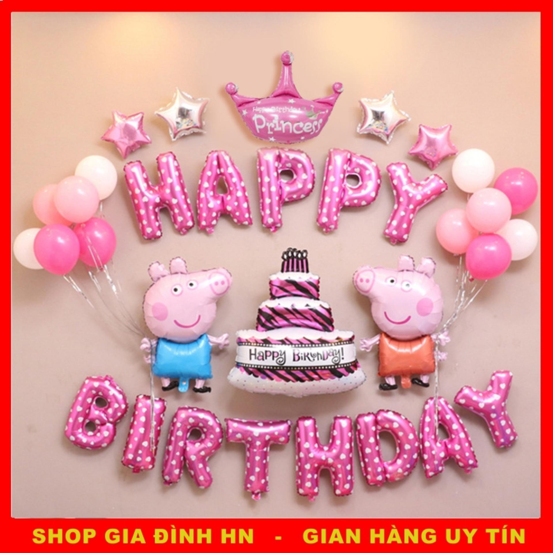 Bộ Bóng Trang Trí Sinh Nhật,Bong Bóng Peppa Pig Cho Cả Bé Trai,Bé Gái, ( Có tặng Bơm và Dây ruy băng )