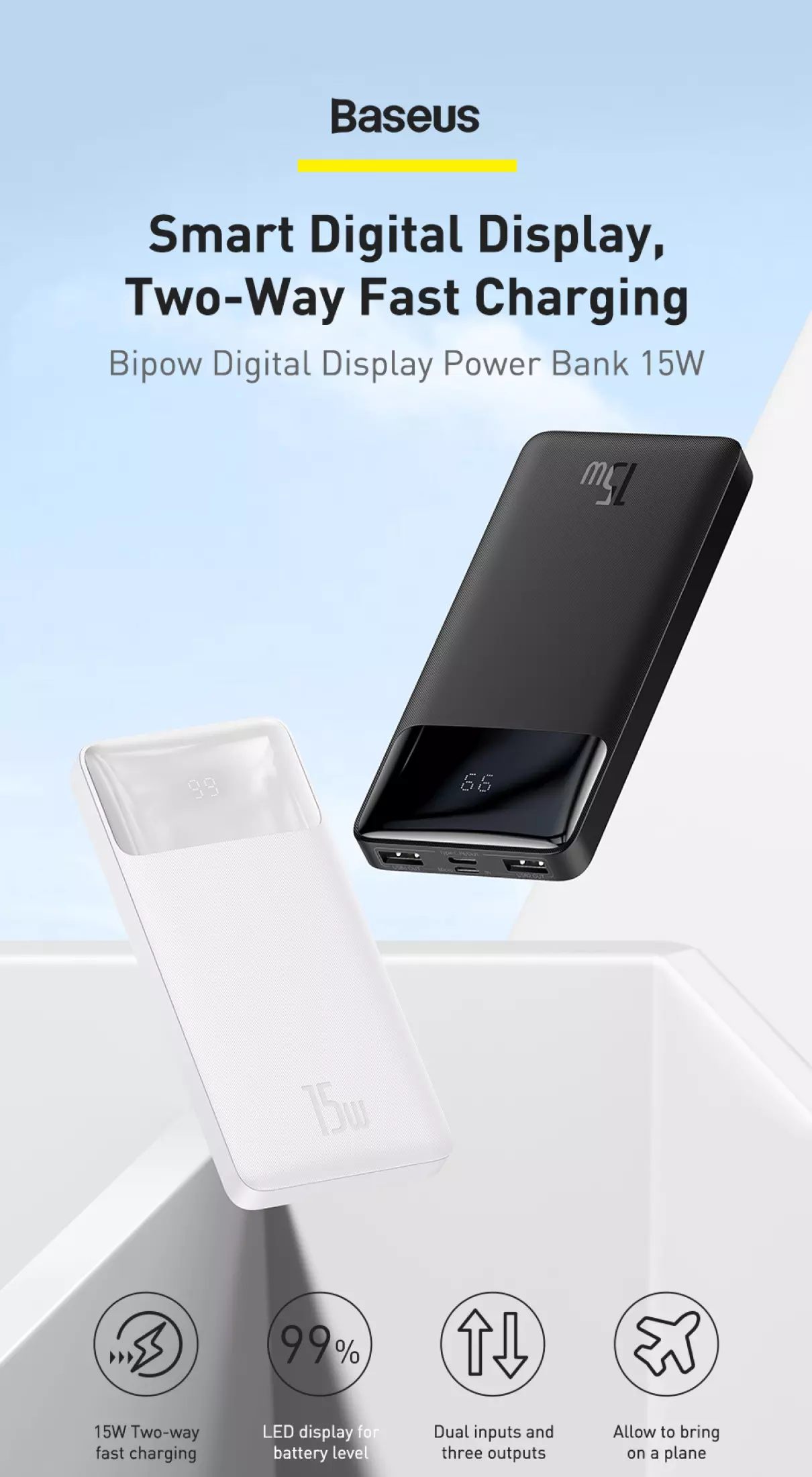 Pin sạc dự phòng Baseus dung lượng 10000mAh công suất 15W hoặc 20W, màn hình LED hiển thị, sạc nhanh QC, PD cho iPhone, Samsung, Xiaomi,....-Phân phối chính hãng tại Baseus Việt Nam 1