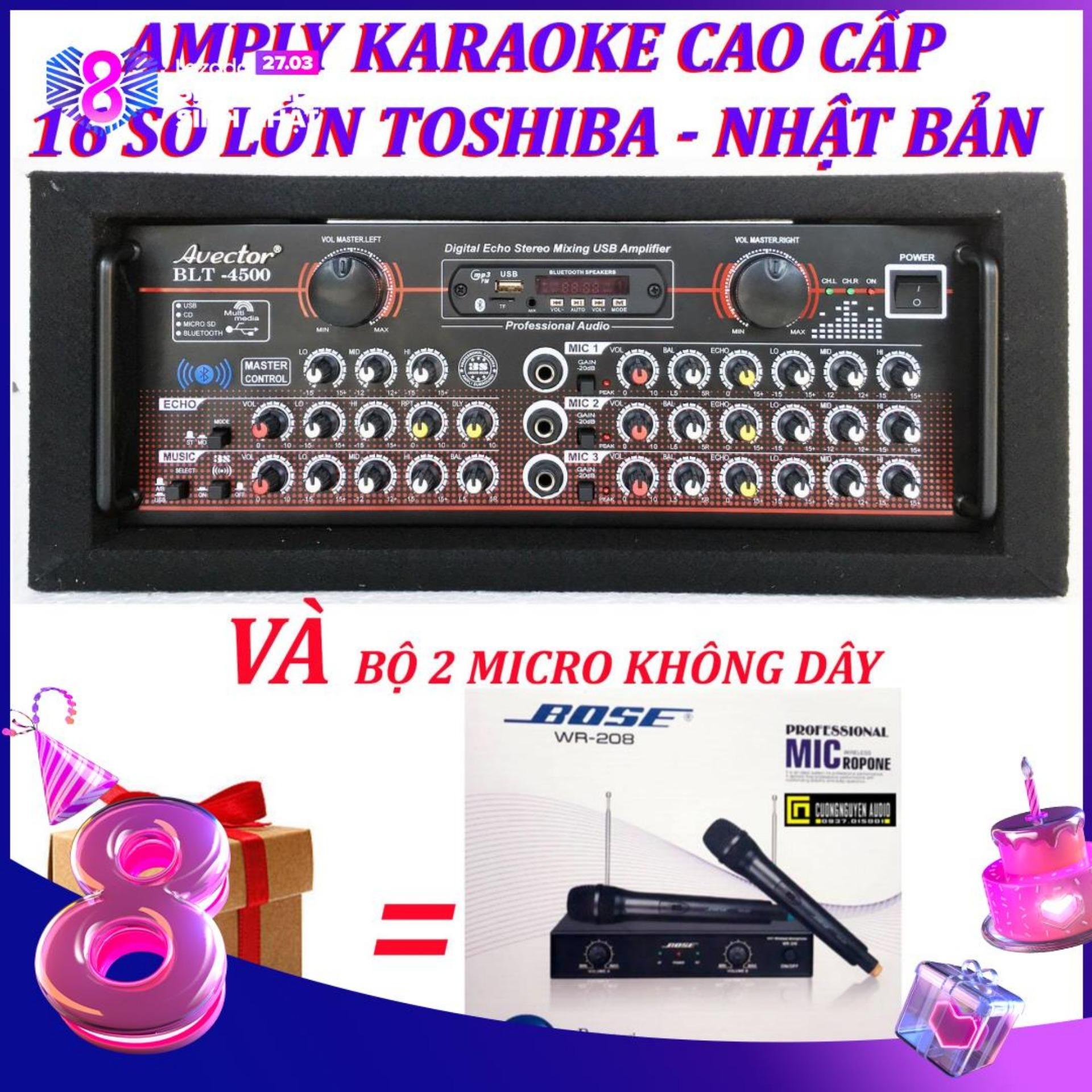 Amply karaoke ampli bluetooth amply nghe nhac amply karaoke hay cao cấp avector 4500 VÀ bộ micro không dây bs208