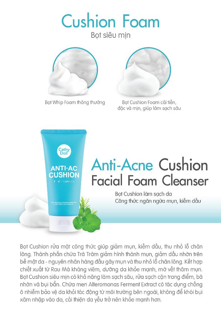 Sữa rửa mặt tạo bọt ngăn ngừa mụn Cathy Doll Anti-Acne Cushion Facial Foam  Cleanser 120ml   Lazada.vn