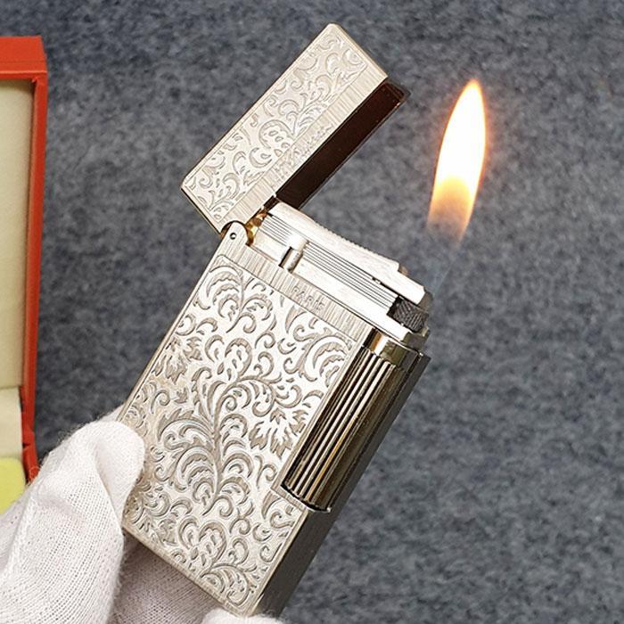 Hộp quẹt, bật lửa Dupont D10T mộc không sơn mài, khoắc hoa văn họa tiết nổi, tiếng kêu cực hay và vang