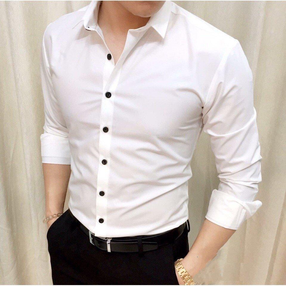 Sơ Mi Nam trơn trắng cúc đen Vải Lụa Nến không nhăn thời trang Hàn Quốc vải mịn thích