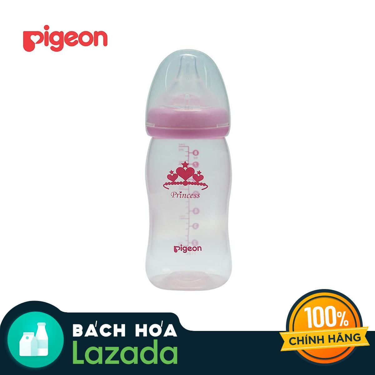 [TẶNG KHĂN SỮA] Bộ đôi Bình sữa PIGEON PP Plus 240ml - Mẫu Công Chúa
