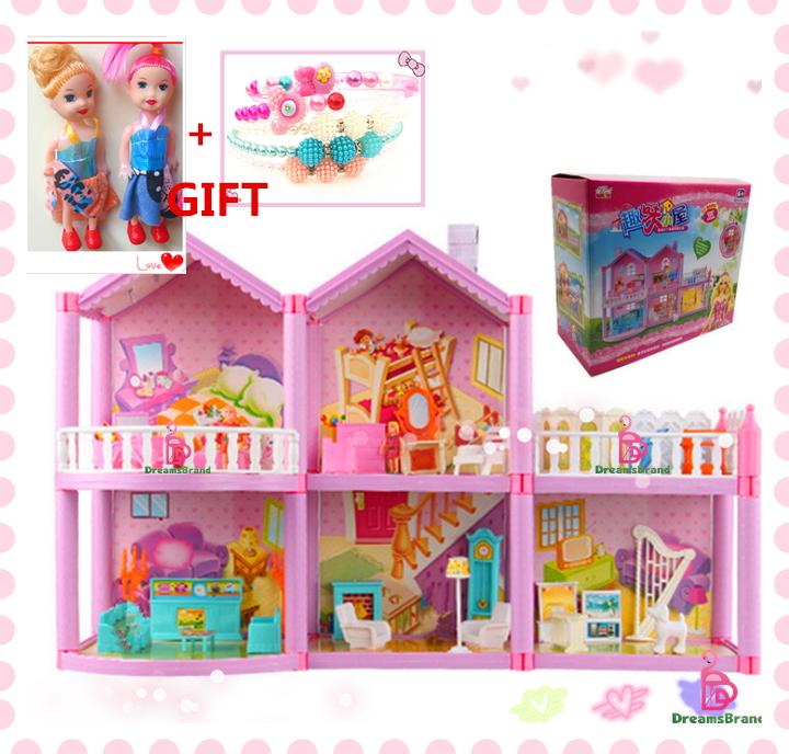 Hình ảnh [Băng đô miễn phí + 2PCS Barbies] Bộ Đồ Chơi Búp Bê Tự Làm Cho Bé Gái, Nhà Búp Bê Mô Phỏng Đồ Nội Thất Trong Mơ Cho Búp Bê Barbie, Quà Tặng Sinh Nhật, Màu Hồng