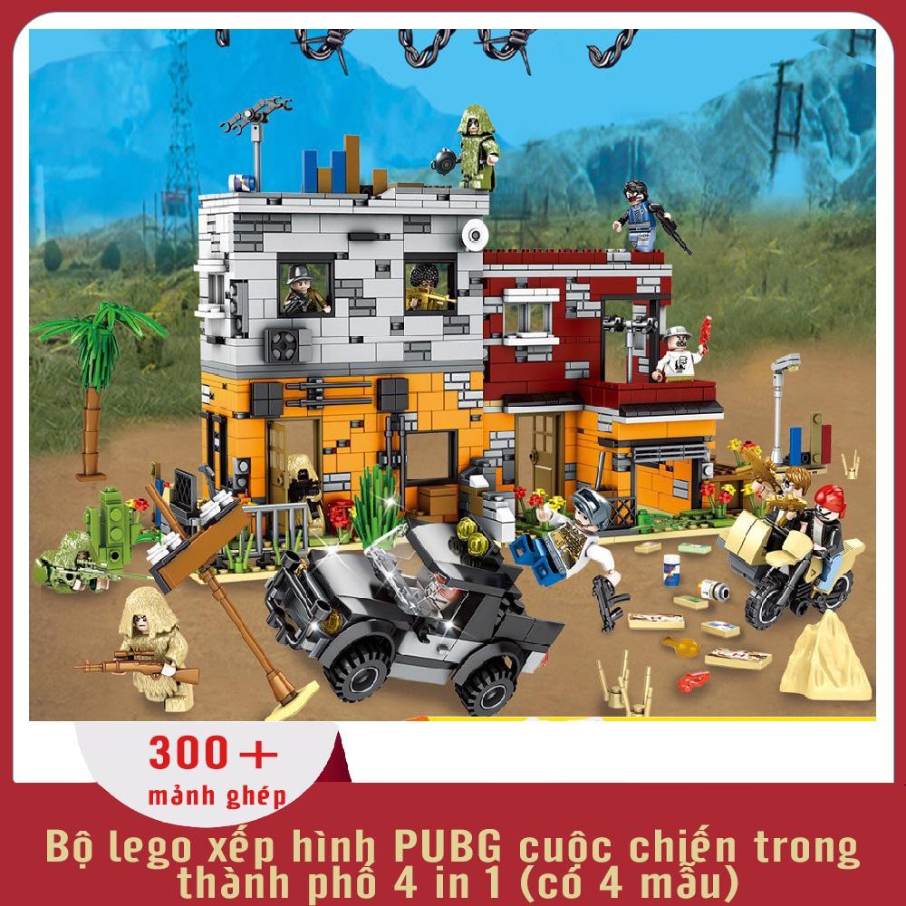 Đồ chơi trẻ em thông minh xếp hình lego PUBG CUỘC CHIẾN TRONG THÀNH PHỐ, có 4 mẫu, 300+ chi tiết, nhựa ABS an toàn cho trẻ