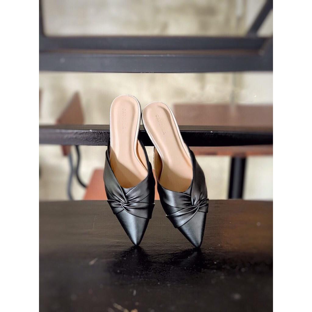 Sục nữ, giày nữ mũi nhọn da mềm kiểu xoắn chéo - A7 2