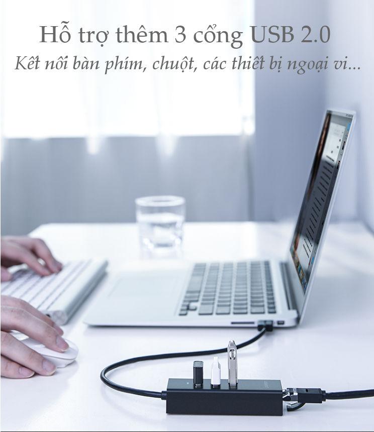 Bộ chia 3 cổng USB 2.0 kèm cổng mạng Ethernet 10/100Mbps dài 20cm Ugreen CR129