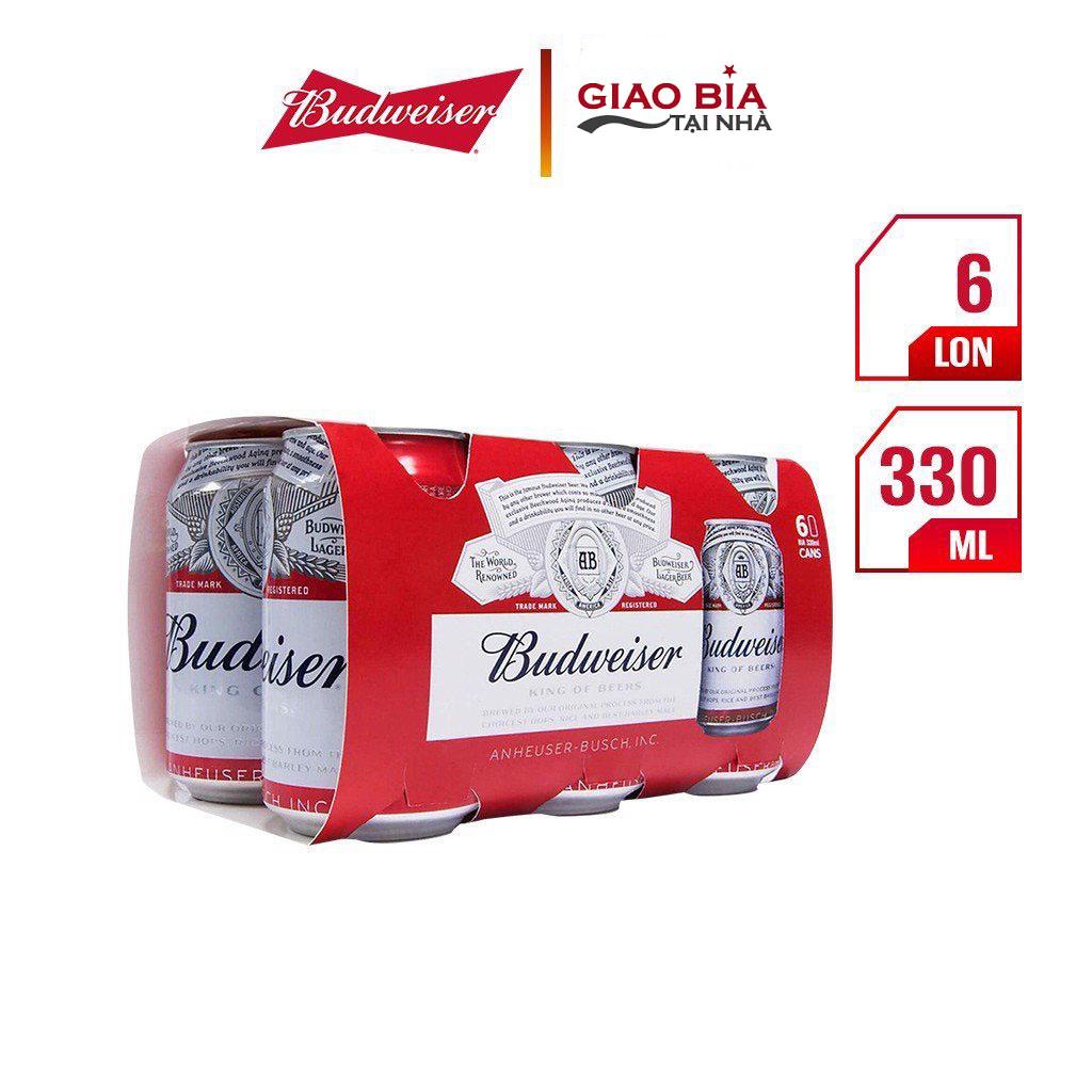 Lốc 6 Lon Bia Budweiser 330ml | Chính Hãng