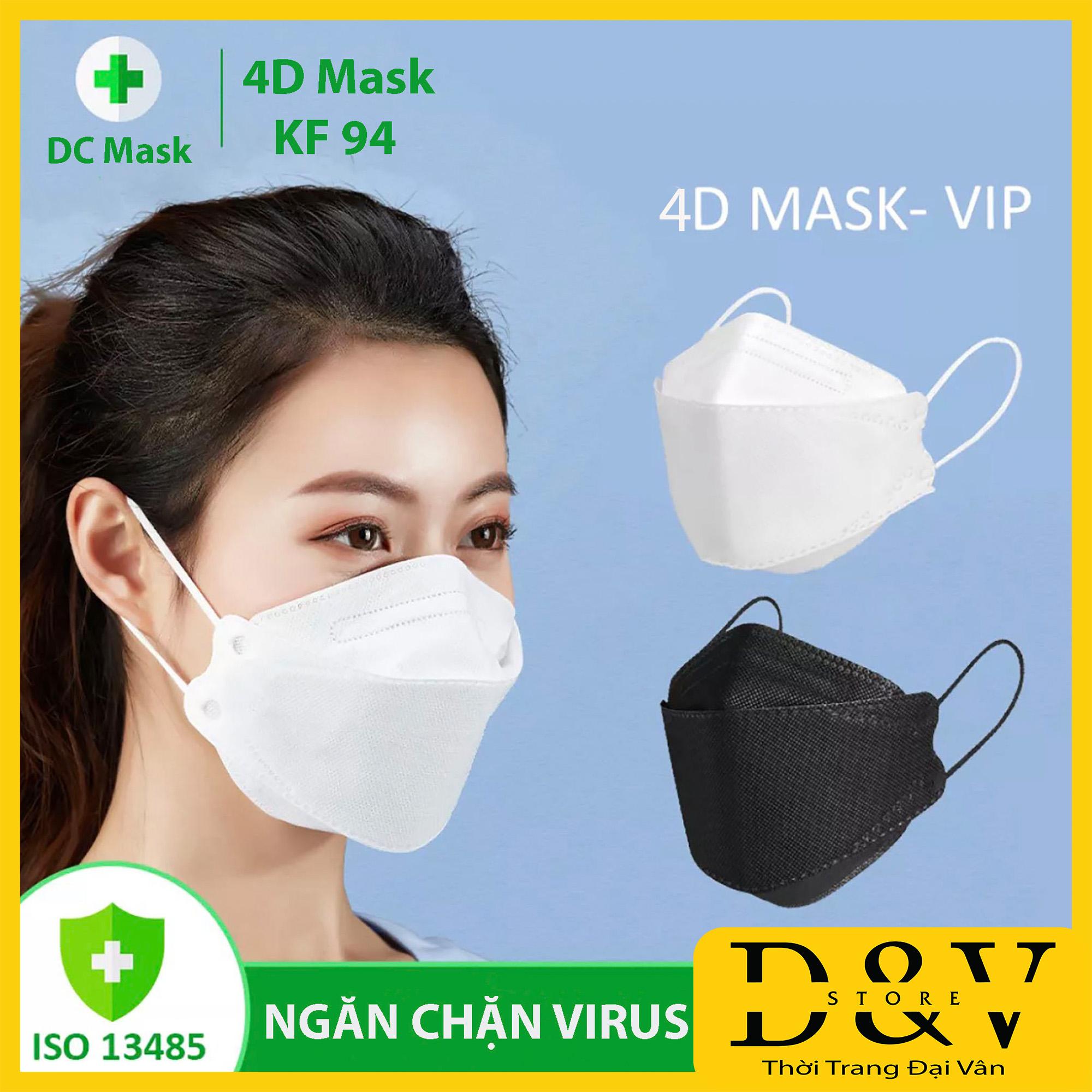 Khẩu trang y tế 4D Mask KF94 kiểu Hàn Quốc  4 lớp  kháng khuẩn [1 Gói 5 chiếc], kháng bụi mịn lên đến 95%, đạt tiêu chuẩn ISO khẩu trang y tế, khẩu trang 3d mask, khẩu trang 3d land mask