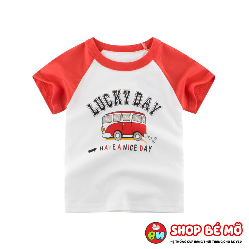 Áo phông cho bé hình xe bus dễ thương