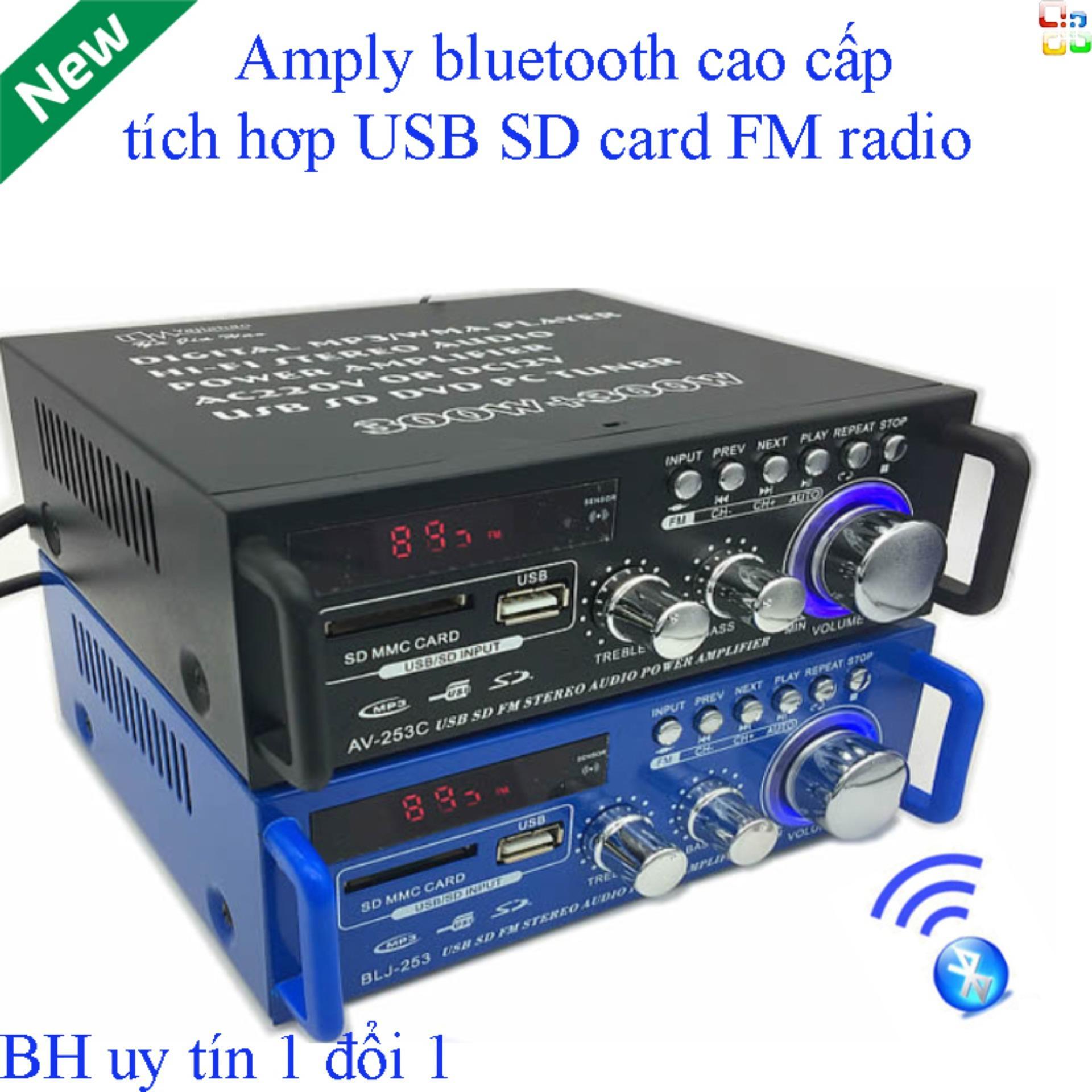 Âm ly mini bluetooth ,Âm Ly Mini, ,Amply Bluetooth Tely-Jbv253 Cao Cấp Tiện Lợi (Giá Off-50%) Thiết Kế Tinh Tế Cổng Usb,Sd Card,Radio.Tích Hợp Kèm 2 Cổng Mic Karaoke.