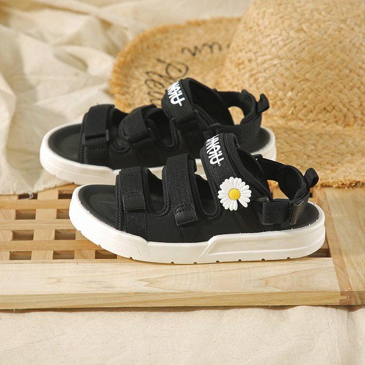 (2 MÀU) Sandal nữ thời trang Ulzzang quai vải chữ ký hoa cúc 2 màu Đen Kem trẻ trung 2
