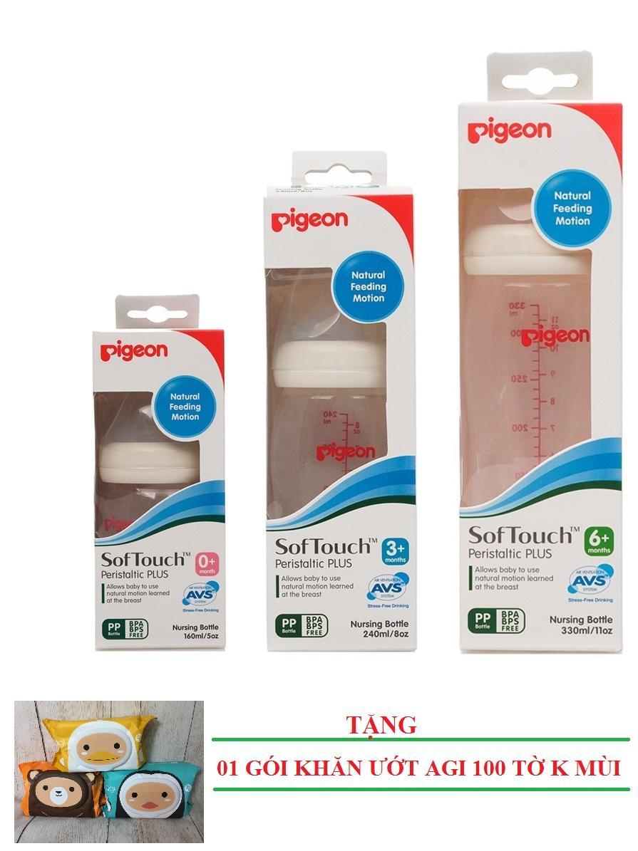 [MUA 3 TẶNG 1] Bộ 03 Bình Sữa PP Plus Cổ Rộng Cao Cấp Pigeon 160ml,240ml,330ml TẶNG 01 gói Khăn ướt Agi 100 tờ