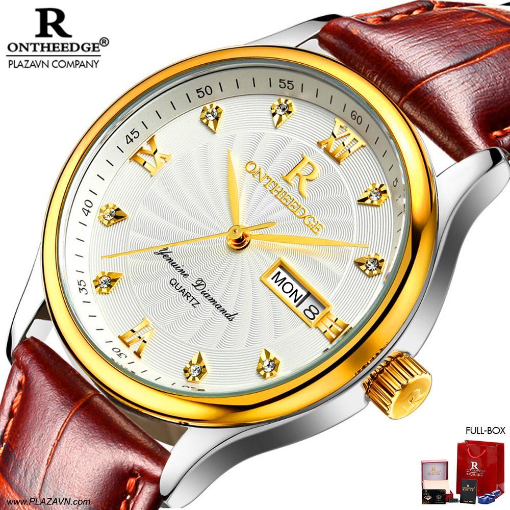 Đồng hồ thời trang nam ON THE EDGE đính kim cương sang trọng, chống nước chống xước tốt, có lịch ngày lịch thứ tiện lợi