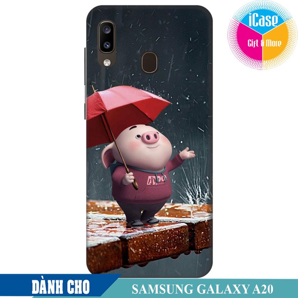 Ốp lưng nhựa dẻo dành cho Samsung Galaxy A20 in hình Heo Con Lông Vũ