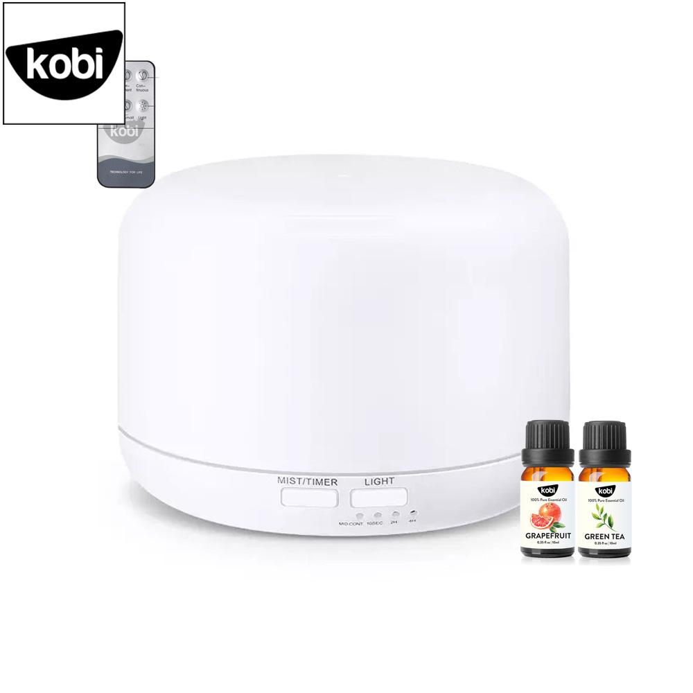 Máy xông tinh dầu mini Bạch Tuyết Kobi giúp phun sương, tạo ẩm, đuổi muỗi, làm thơm phòng ngủ, phòng khách, tặng 2 tinh dầu Sả chanh 10ml