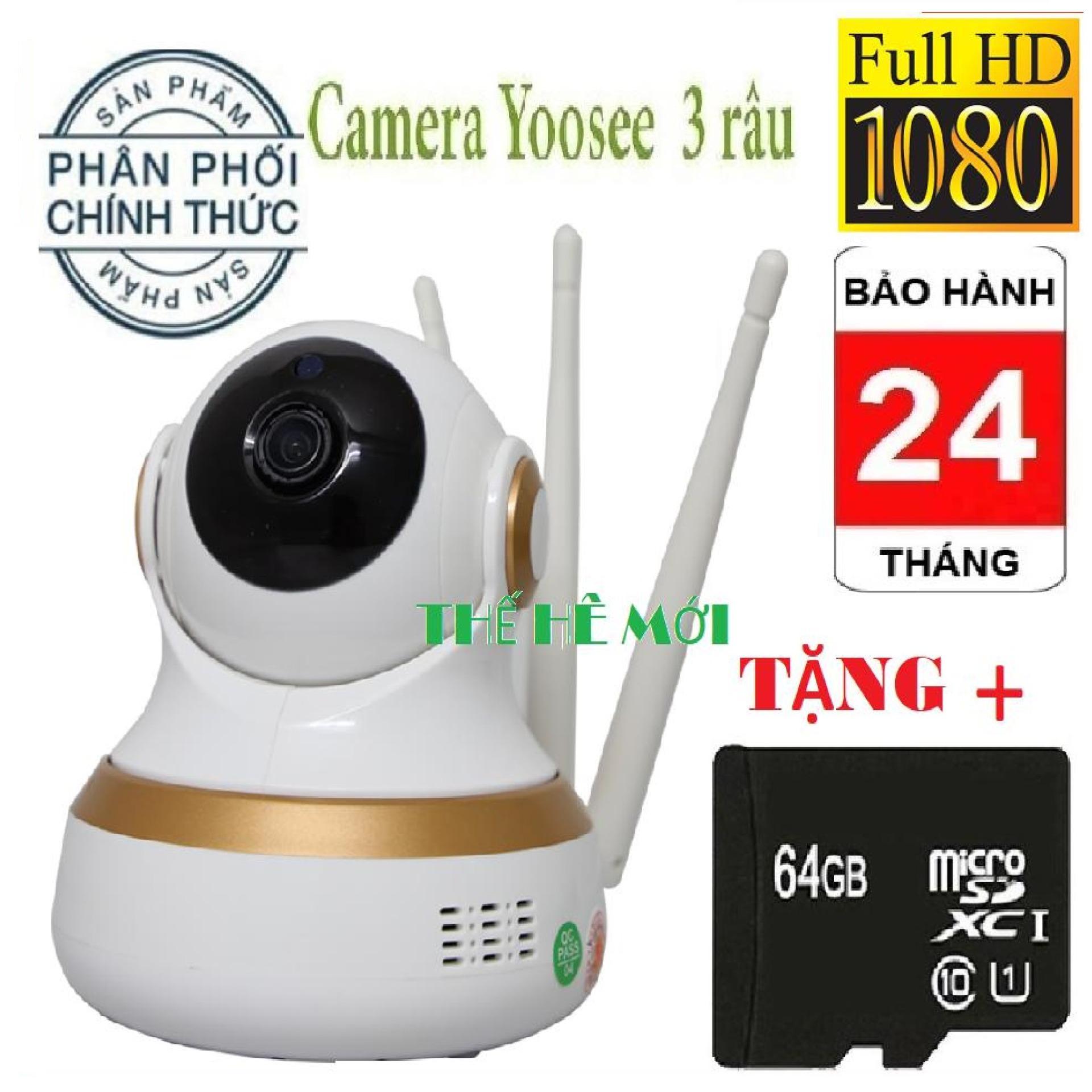 (BH 24 tháng,1 đổi 1 trong vòng 14 ngày-Tặng thẻ nhớ yoosee 64GB),Camera wifi yoosee 3 râu new,camera trong nhà,ngoài trời,lưu trữ video,đàm thoại song phương