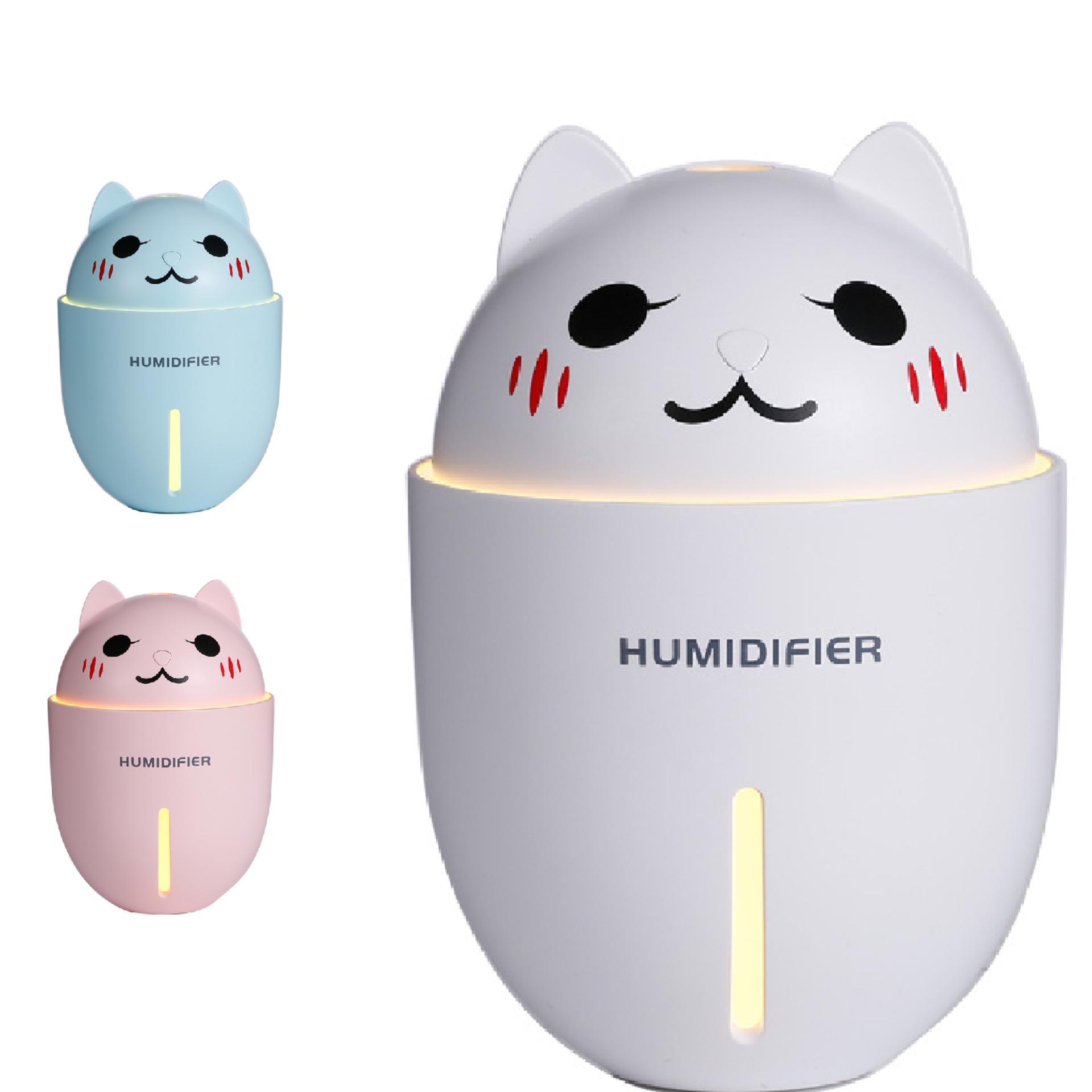 Phun sương tạo độ ẩm xông tinh dầu hình mèo (Tích hợp đèn LED và quạt mini)
