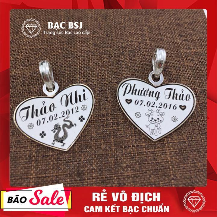 Mặt dây chuyền bạc hình trái tim cho bé gái chất liệu Bạc ta cao cấp, miễn phí khắc tên theo yêu cầu. Bạc BSJ