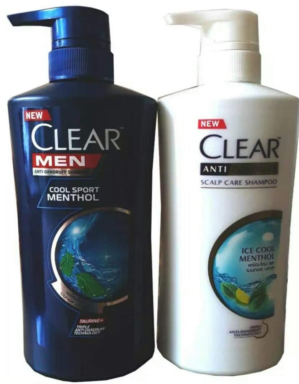 Bộ 2 Chai Dầu Gội Clear Men Và Clear Bạc Hà Thái Lan