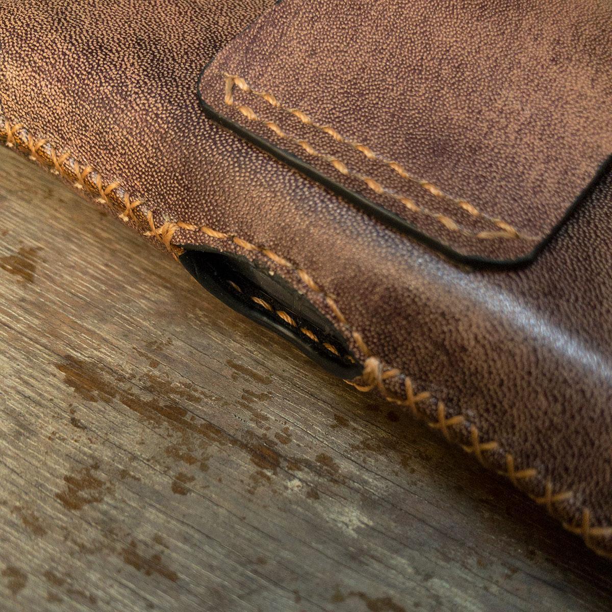 Bao Da đeo hông Nokia 8800 màu nâu kịch độc, Bao da thủ công Handmade làm từ da bò thật nhập khẩu - AS LEATHER - BDAS03