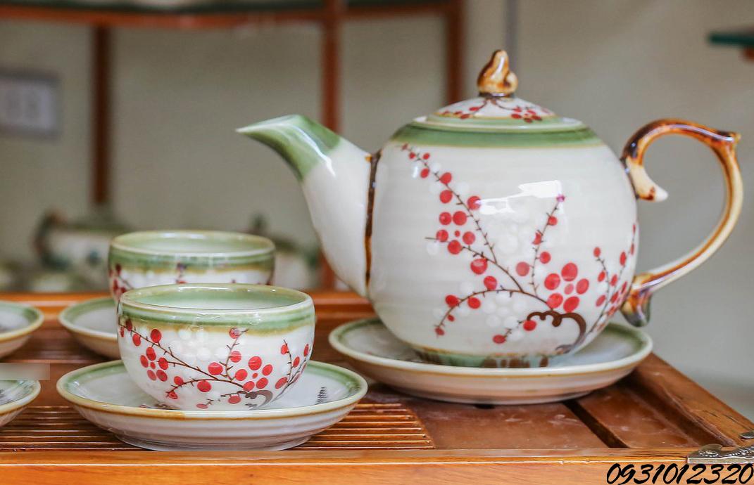 bộ ấm trà đạo tp hcm vẽ hoa đào