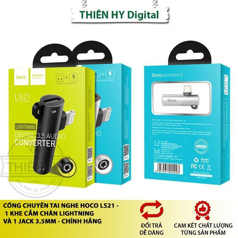 Cổng Chuyển Tai Nghe Hoco LS21 Khe Cắm Lightning + Jack 3.5mm (PVN110,PVN1008)