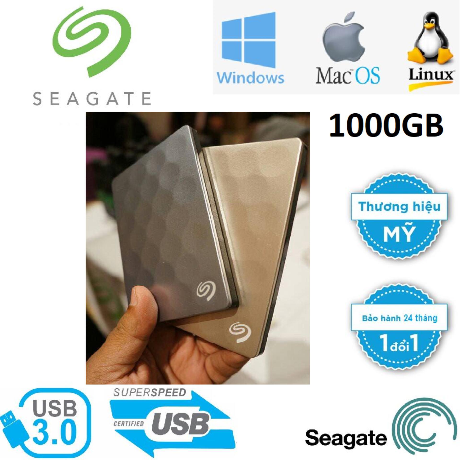 Ổ cứng di động HDD Seagate 1TB Backup Plus Ultra Slim Portable 2.5 Hàng Nhập Khẩu - Tặng bộ đôi đầu chuyển OTG MICRO USB-TYPE C,TÚI CHỐNG SỐC Bảo hành 24 tháng 1 đổi 1