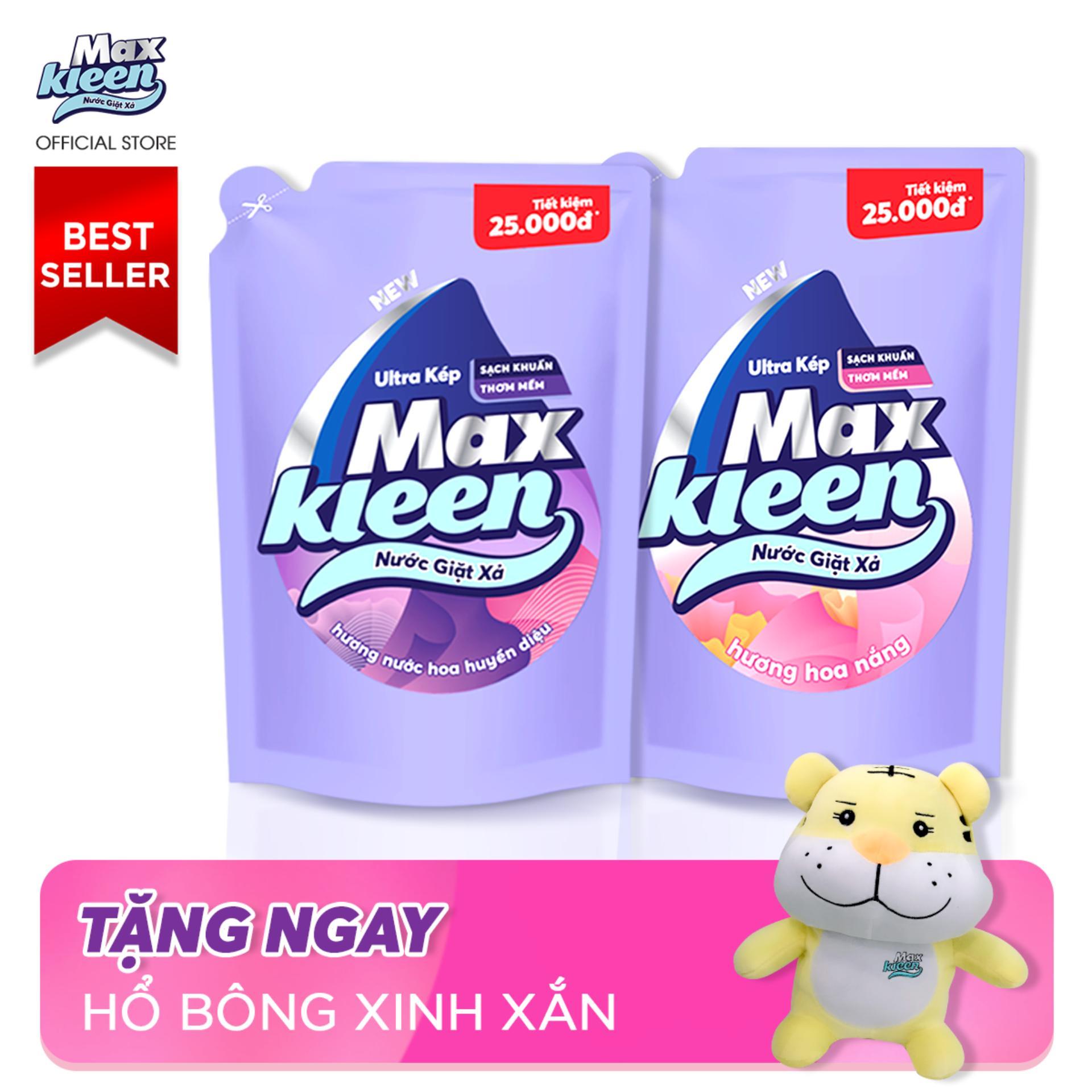 Combo 2 Túi Nước Giặt Xả Maxkleen 2.4kg: 1 Hương Nước Hoa Huyền Diệu + 1 Hương Hoa Nắng + Tặng Hổ bông