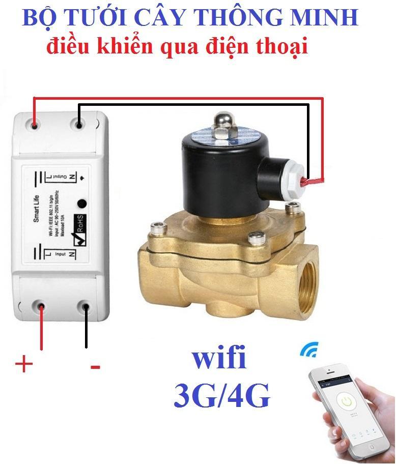 Bộ tưới cây tự động thông minh điều khiển qua điện thoại gồm Van Điện Từ và Công tắc WIFI SMART LIFE công tắc hẹn giờ công tắc điều khiển từ xa ổ cắm hẹn giờ van nước tự động van thoát nước hệ thống phun sương hệ thống tưới nhỏ giọt